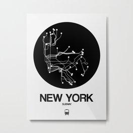 New York Black Subway Map Metal Print