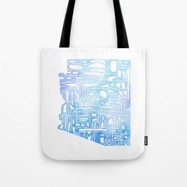 Typographic Arizona - Blue Watercolor Tote Bag