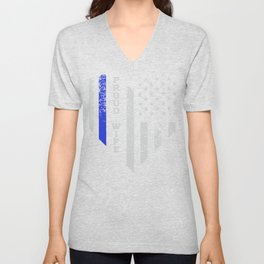 Thin Blue Line Heart product Wife of Police Proud USA Unisex V-Neck