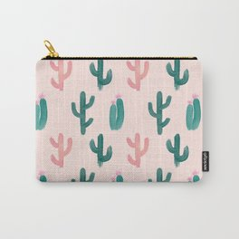 Painted Cactus Pattern on Pink Carry-All Pouch