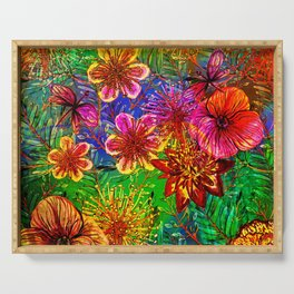 Tropical Heat-Colorful Floral Exotic Tropical Flower Pattern Serving Tray