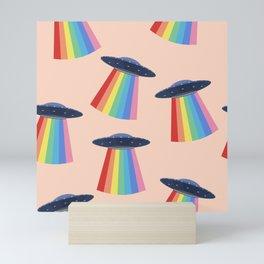 Flying saucer and rainbows Mini Art Print