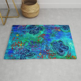 In Too Deep - Blue Abstract Flowers Rug