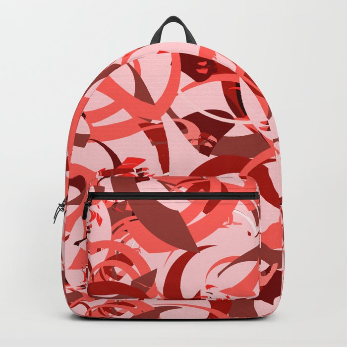 Abstract Curls - Burgundy, Coral, Pink Backpack