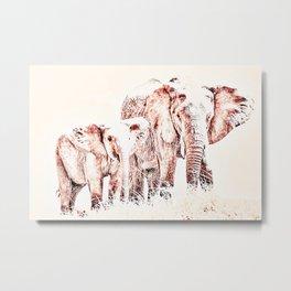 Animals Of The Rainbow Elephants Metal Print