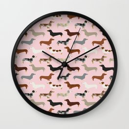 Dachshund doxie pet portrait hot dog weener dog breed funny small dogs puppy gifts for dachshund  Wall Clock