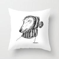rubyetc Throw Pillows featuring winter greyhound by rubyetc
