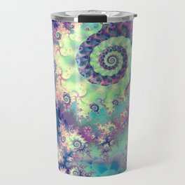 Violet Teal Sea Shells, Abstract Underwater Forest  Travel Mug
