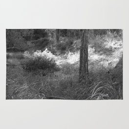 Black and white country forest Rug