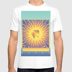 Golden Rays White Mens Fitted Tee MEDIUM