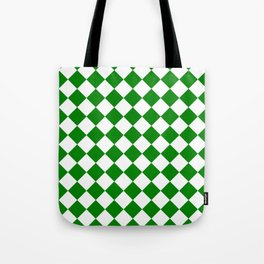 Diamonds - White and Green Tote Bag