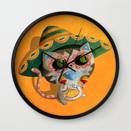 Cute Mexican Cat Wall Clock