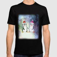 Penguin Love Christmas Black MEDIUM Mens Fitted Tee