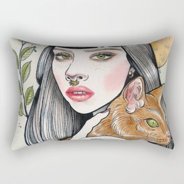 The Girl and Her Cat Rectangular Pillow
