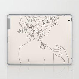 Woman with Flowers Minimal Line II Laptop & iPad Skin