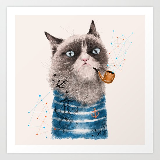 Sailor Cat III Art Print