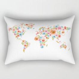 Watercolor Flower World Rectangular Pillow
