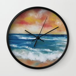 Colourful Seascape, Magical Clouds, Waves, Sandy Beach, oil painting by Luna Smith Wall Clock