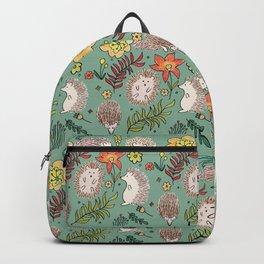 Hedgehogs Field in Green Backpack