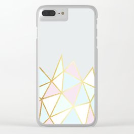 Gold & Pastel Geometric Pattern Clear iPhone Case