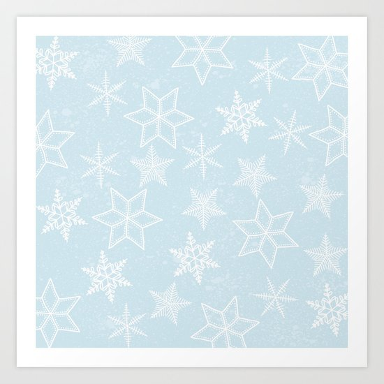 Snowflakes on light blue background Art Print