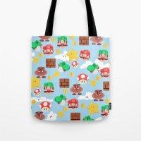 super mario Tote Bags featuring Super Mario by Clef