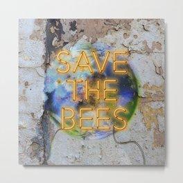 Save the Bees - Neon Metal Print