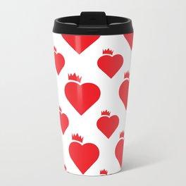 Crown Heart Pattern Red Travel Mug