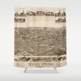 Vintage Pictorial Map of Hyde Park MA (1890) Shower Curtain