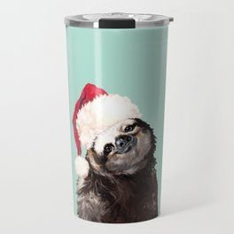 Christmas Sloth in Green Travel Mug