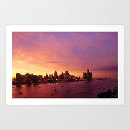 Detroit Skyline Sunset Art Print