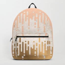 Marble and Geometric Diamond Drips, in Gold and Peach Backpack