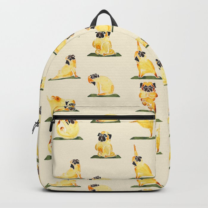 Pug Yoga Watercolor Backpack