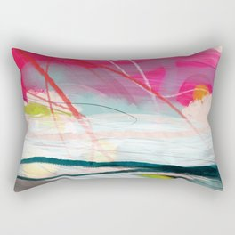 abstract landscape with pink sky over white cloud mountain Rectangular Pillow