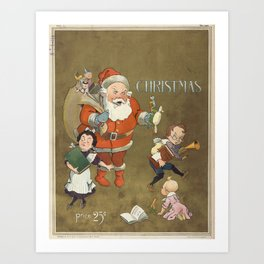 Vintage Frustrated Santa Claus Illustration (1901) Art Print