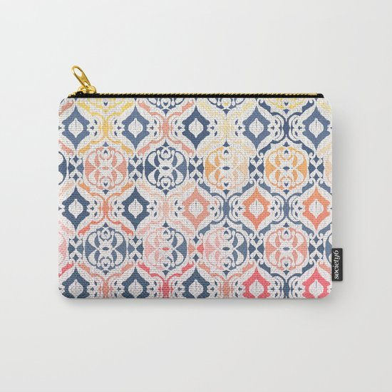 Tropical Ikat Damask Carry-All Pouch