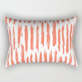 Vertical Dash Deep Coral on White Rectangular Pillow