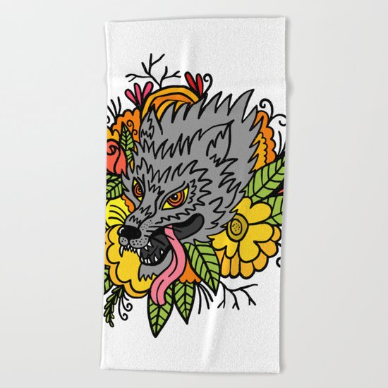 wild wolf Beach Towel