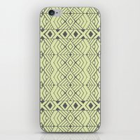 lime green iPhone & iPod Skins featuring Lime Green Aztec by Pom Graphic Design