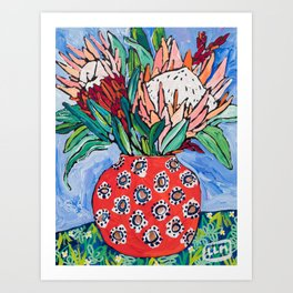 Protea Bouquet in Red Bulb vase on Ultramarine Blue Floral Still Life Painting Art Print