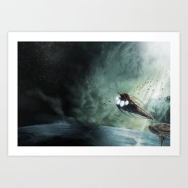 The Intrepid arrives at Carthage - Green Clouds Art Print