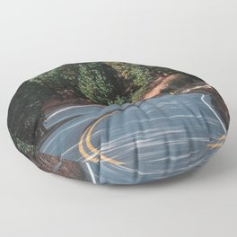 The road through the woods and mountains Floor Pillow