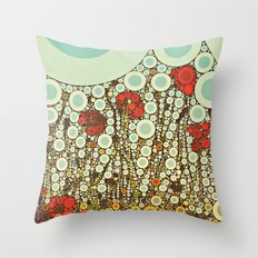 Pop Pop Poppies Abstract Red Flowers and sky with vintage pop art charm Throw Pillow