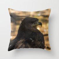 hawk Throw Pillows featuring Hawk by Veronika