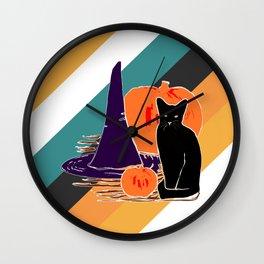 Witch Cat Pumpkin in Candy Corn Wall Clock