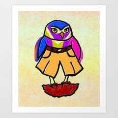 Colorful Owl in Trousers Art Print