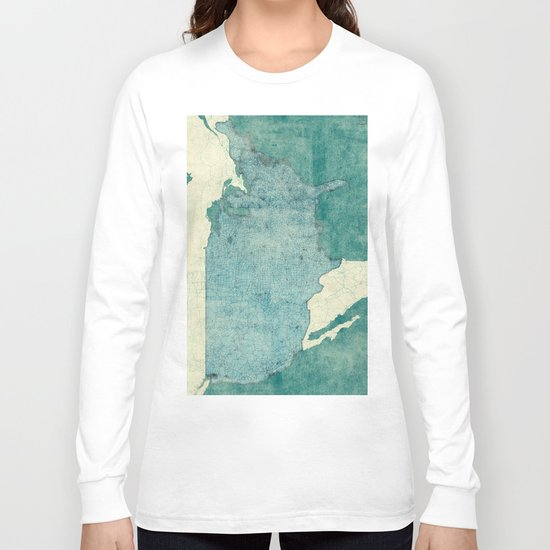 United States Of America Map Blue Vintage Long Sleeve T-shirt