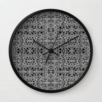 cyberpunk Wall Clocks featuring Cyberpunk Silver Print Pattern  by DFLC Prints
