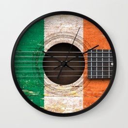 Old Vintage Acoustic Guitar with Irish Flag Wall Clock