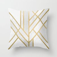 deco Throw Pillows featuring Art Deco Geometry 2 by Elisabeth Fredriksson